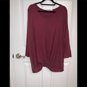 Cranberry colored twist long sleeve tee